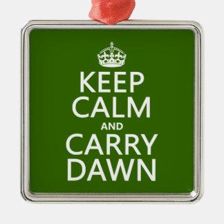 Mantenga tranquilo y lleve el amanecer (cualquier adorno navideño cuadrado de metal