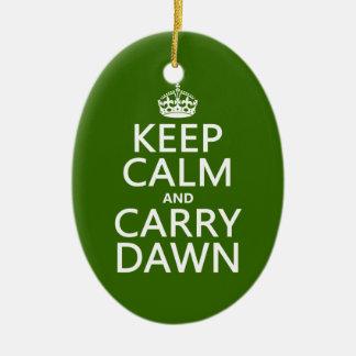Mantenga tranquilo y lleve el amanecer (cualquier adorno navideño ovalado de cerámica