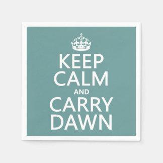 Mantenga tranquilo y lleve el amanecer servilleta de papel