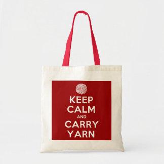 Mantenga tranquilo y lleve el hilado bolsas lienzo