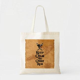 Mantenga tranquilo y lleve el ron bolsa lienzo