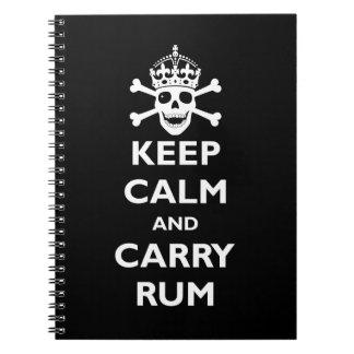 Mantenga tranquilo y lleve el ron libro de apuntes