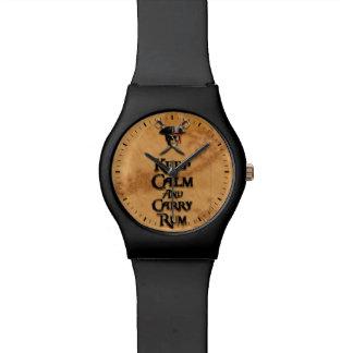 Mantenga tranquilo y lleve el ron reloj de mano