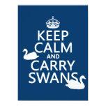 Mantenga tranquilo y lleve los cisnes - todos los invitación 13,9 x 19,0 cm