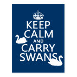 Mantenga tranquilo y lleve los cisnes - todos los  tarjeta postal