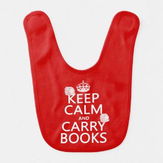 Mantenga tranquilo y lleve los libros (en baberos