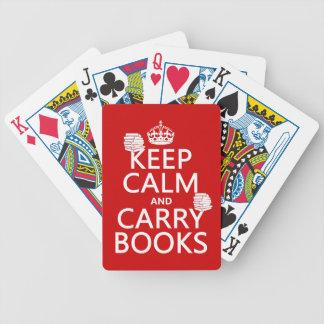 Mantenga tranquilo y lleve los libros (en cualquie barajas de cartas