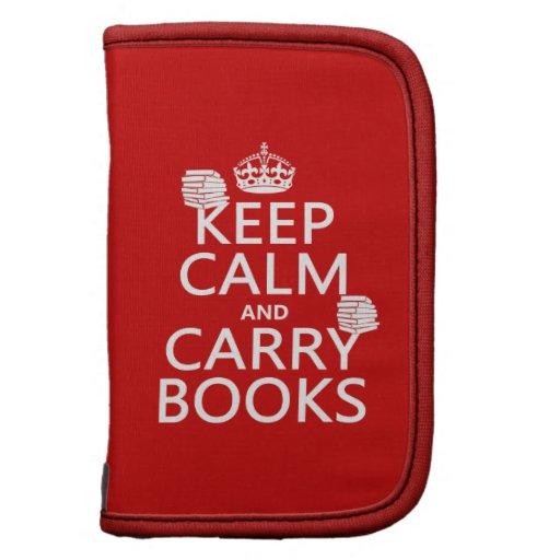 Mantenga tranquilo y lleve los libros (en cualquie planificador
