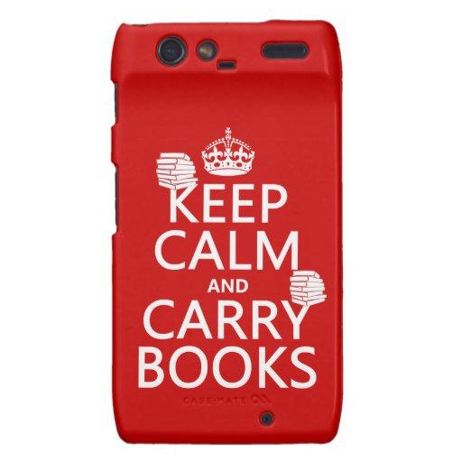 Mantenga tranquilo y lleve los libros (en cualquie droid RAZR fundas