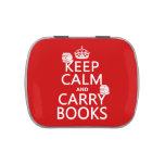 Mantenga tranquilo y lleve los libros (en cualquie frascos de caramelos