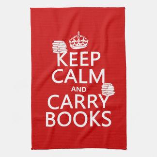 Mantenga tranquilo y lleve los libros (en cualquie toallas
