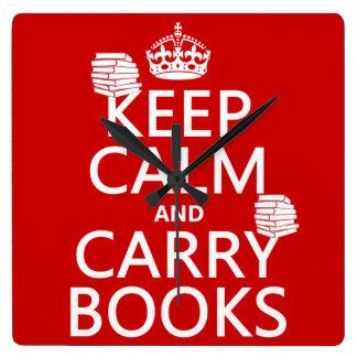 Mantenga tranquilo y lleve los libros (en cualquie reloj