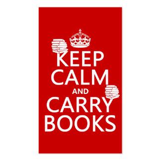 Mantenga tranquilo y lleve los libros (en cualquie plantilla de tarjeta personal