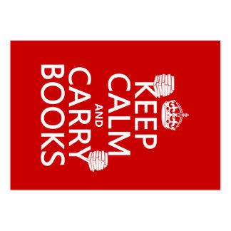 Mantenga tranquilo y lleve los libros (en cualquie plantillas de tarjetas personales