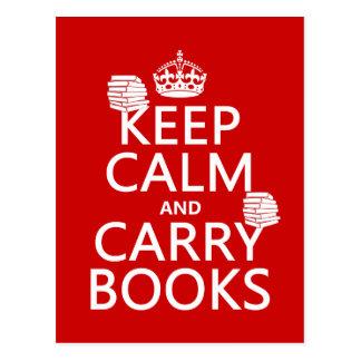 Mantenga tranquilo y lleve los libros (en cualquie postales