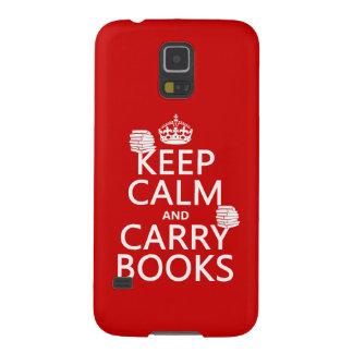 Mantenga tranquilo y lleve los libros (en fundas para galaxy s5
