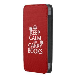 Mantenga tranquilo y lleve los libros (en funda acolchada para móvil