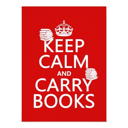 """Mantenga tranquilo y lleve los libros (en invitación 5.5"""" x 7.5"""""""