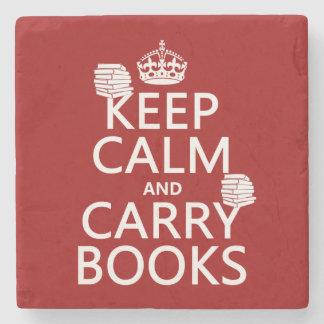 Mantenga tranquilo y lleve los libros (en posavasos de piedra