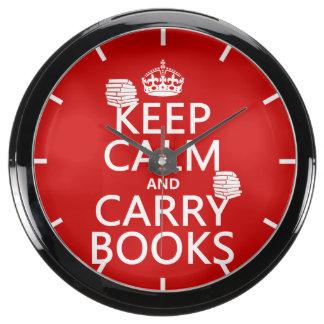 Mantenga tranquilo y lleve los libros (en reloj aquavista