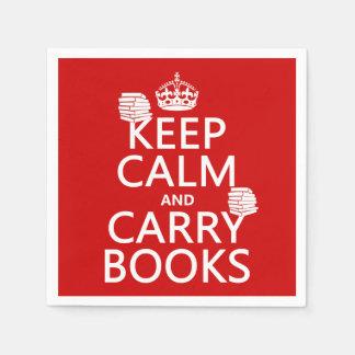 Mantenga tranquilo y lleve los libros (en servilleta desechable