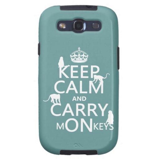 Mantenga tranquilo y lleve los monos - todos los c galaxy s3 fundas