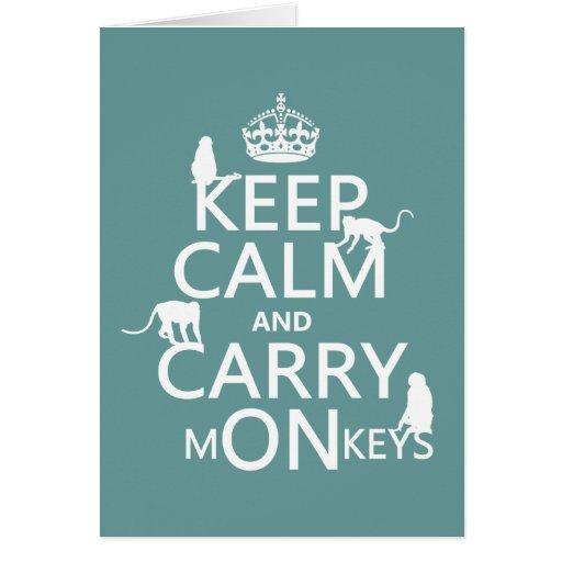 Mantenga tranquilo y lleve los monos - todos los c felicitacion