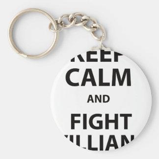 Mantenga tranquilo y lucha Villians Llavero Redondo Tipo Pin