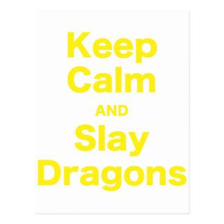 Mantenga tranquilo y mate los dragones tarjetas postales