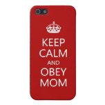 Mantenga tranquilo y obedezca a la mamá iPhone 5 protector