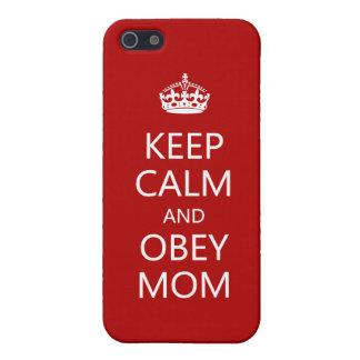 Mantenga tranquilo y obedezca a la mamá iPhone 5 carcasa