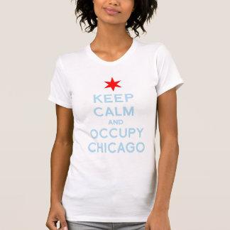 Mantenga tranquilo y ocupe la camiseta de Chicago Playera