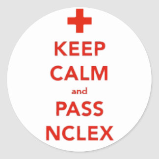 Mantenga tranquilo y pase a los pegatinas de NCLEX Pegatina Redonda