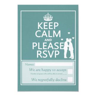 """Mantenga tranquilo y por favor RSVP Invitación 3.5"""" X 5"""""""