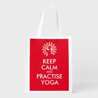 Mantenga tranquilo y practique la yoga bolsas de la compra