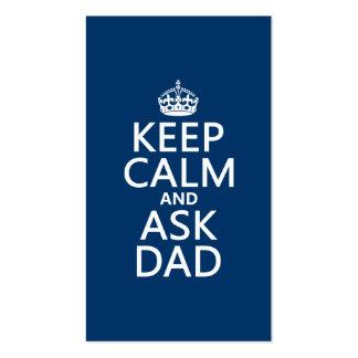 Mantenga tranquilo y pregunte a papá - todos los c tarjetas de visita