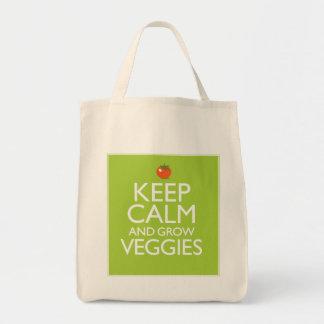 Mantenga tranquilo y produzca los Veggies Bolsa Tela Para La Compra
