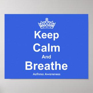 Mantenga tranquilo y respire el poster de la