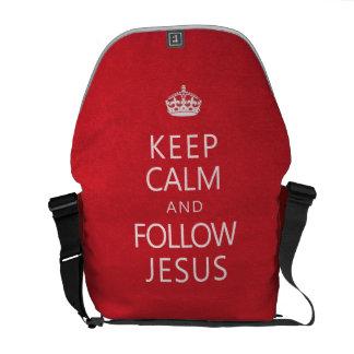 Mantenga tranquilo y siga a Jesús Bolsa Messenger