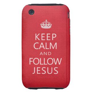 Mantenga tranquilo y siga a Jesús iPhone 3 Tough Carcasa