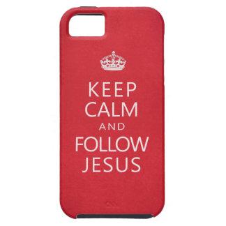 Mantenga tranquilo y siga a Jesús iPhone 5 Case-Mate Cárcasa