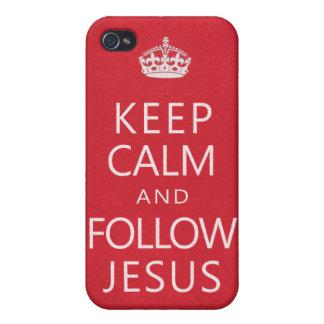 Mantenga tranquilo y siga a Jesús iPhone 4/4S Fundas