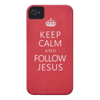 Mantenga tranquilo y siga a Jesús iPhone 4 Case-Mate Cobertura