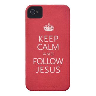 Mantenga tranquilo y siga a Jesús iPhone 4 Case-Mate Protectores