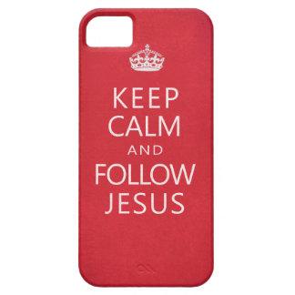Mantenga tranquilo y siga a Jesús iPhone 5 Cárcasa