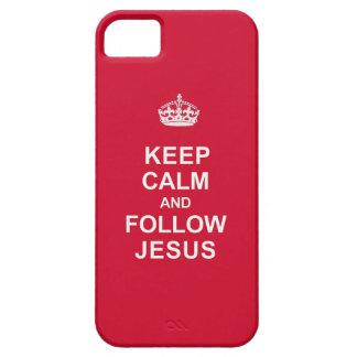 Mantenga tranquilo y siga a Jesús iPhone 5 Carcasas
