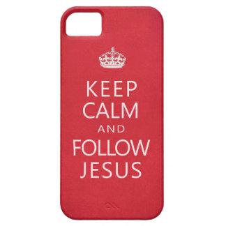 Mantenga tranquilo y siga a Jesús iPhone 5 Funda