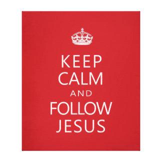 Mantenga tranquilo y siga a Jesús Lona Envuelta Para Galerías