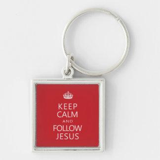 Mantenga tranquilo y siga a Jesús Llavero Cuadrado Plateado