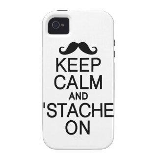 Mantenga tranquilo y 'Stache en casamata del iPhon iPhone 4 Carcasas
